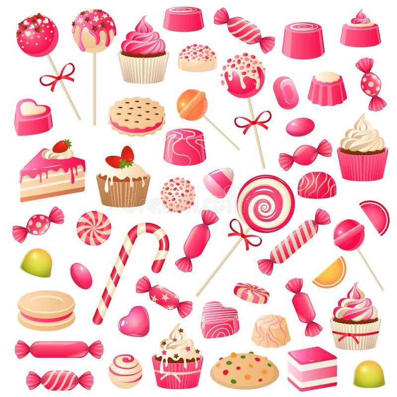 Suikergoedreeks Het zoete suikergoed van de dessertschocolade, heemst en drageegelei Chocoladekoekjes cupcakes, lollysnoepje stock illustratie