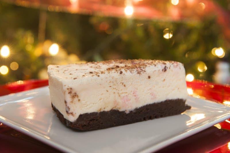 Suikergoedriet en Brownie Ice Cream Cake royalty-vrije stock afbeeldingen