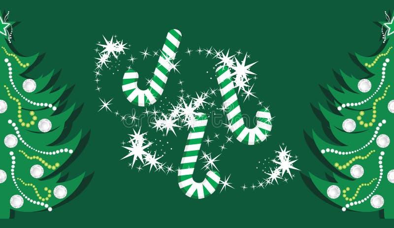 Suikergoedriet en glanzende Kerstbomen op dar vector illustratie