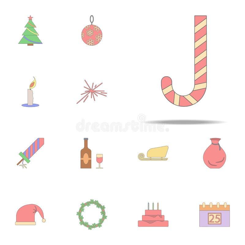 Suikergoedriet voor Kerstmis gekleurd pictogram Voor Web wordt geplaatst dat en mobiel de pictogrammenalgemeen begrip van de Kers royalty-vrije illustratie