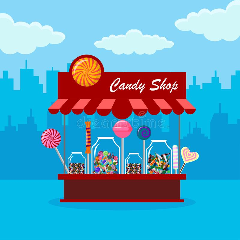 Suikergoedwinkel, opslag in stad Zoet suikergoed in glaskruik die op achtergrond wordt geïsoleerd Lolly, chocoladereep Vectorbeel vector illustratie