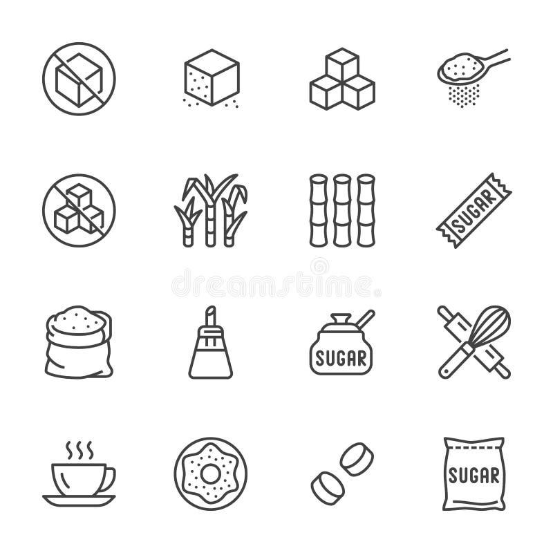 Suikerriet, geplaatste pictogrammen van de kubus de vlakke lijn Zoetmiddel, stevia, de vectorillustraties van bakkerijproducten O vector illustratie