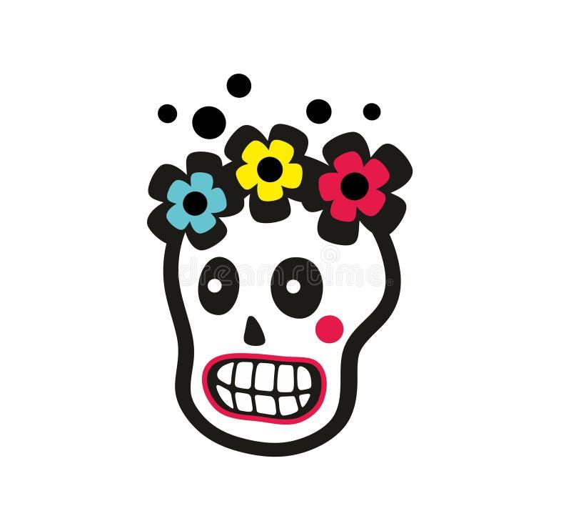 Suikerschedel van mooi meisje met bloemen op het hoofd stock illustratie