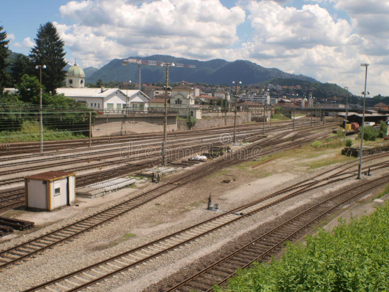 SUISS RAILS CHIASSO. Suiss rails lines train at Chiasso city, border with Italy royalty free stock photos