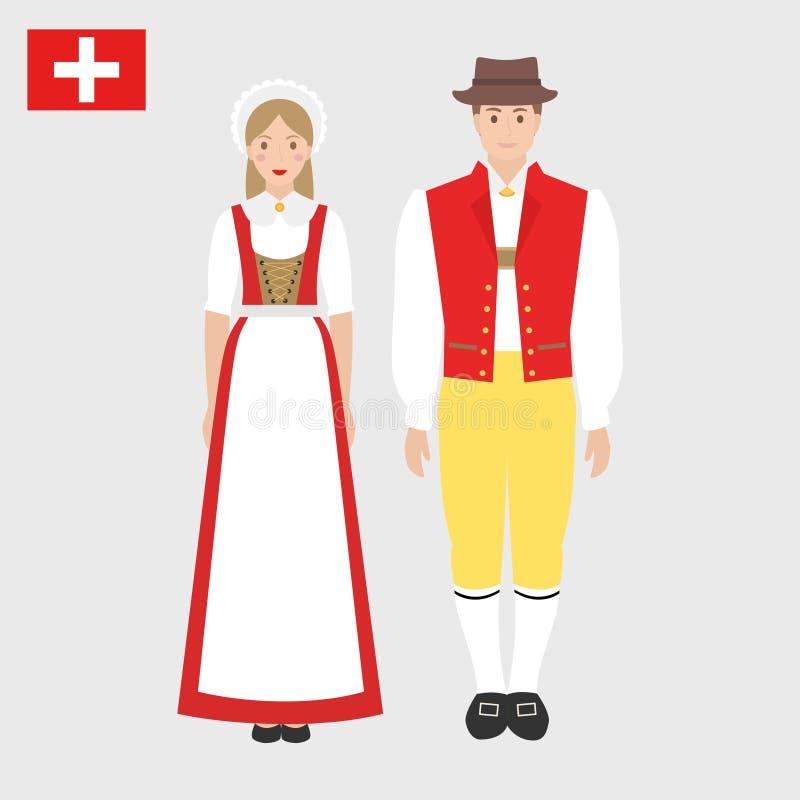 Suisse dans le costume national avec un drapeau illustration de vecteur
