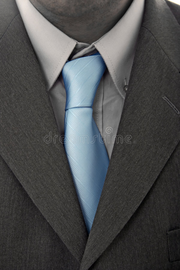 Suit with blue tie stock photo