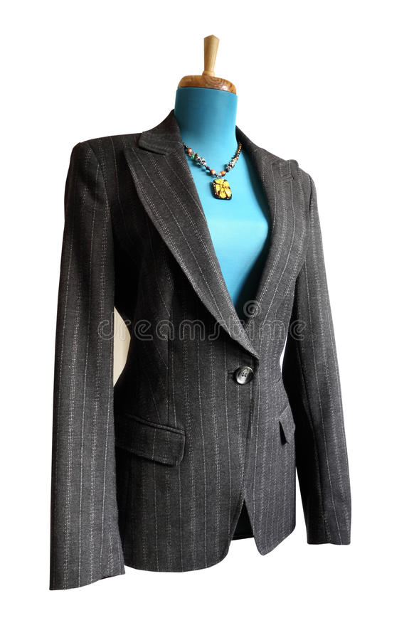 Suit jacket. Smart ladies gray suit jacket suitable for professional business wear isolated against a white background with clipping path stock image