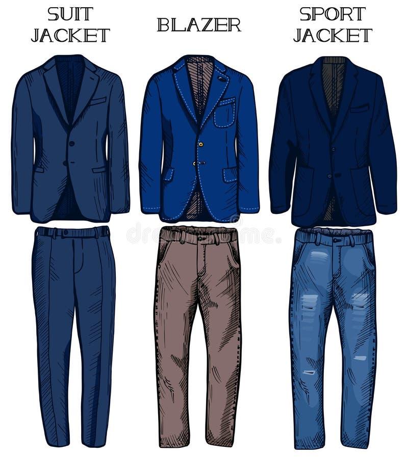 Suit jacket, blazer, sport jacket vector illustration
