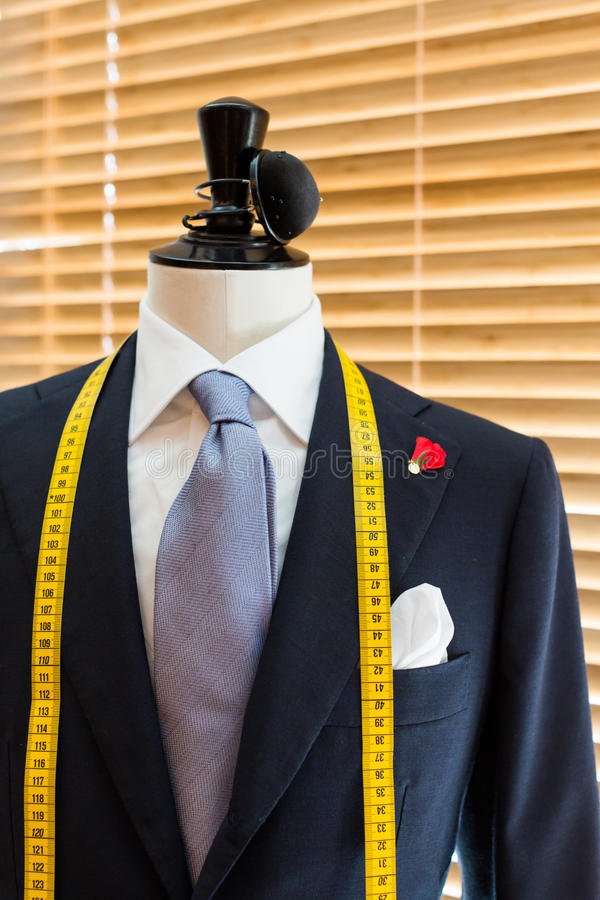 Suit on mannequin. In tailors Shop stock image