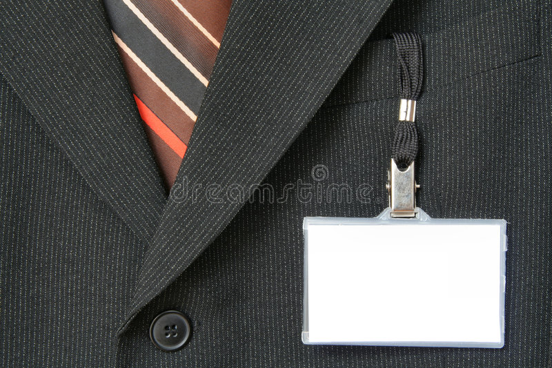 Download Suit and name tag stock image. Image of identification - 1064473