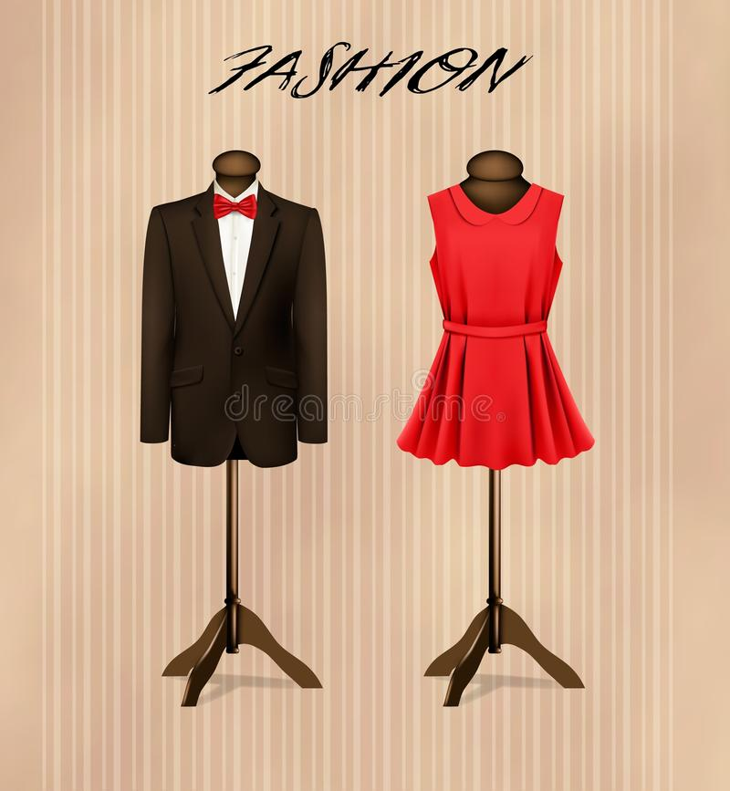 A suit and a retro formal dress on mannequins. vector illustration