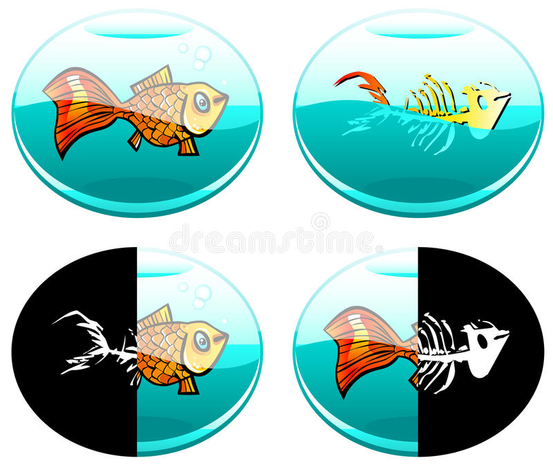 Suitable For Life. Four semi-abstract vector images of fish in different natural aquatic environments - not always suitable for life vector illustration