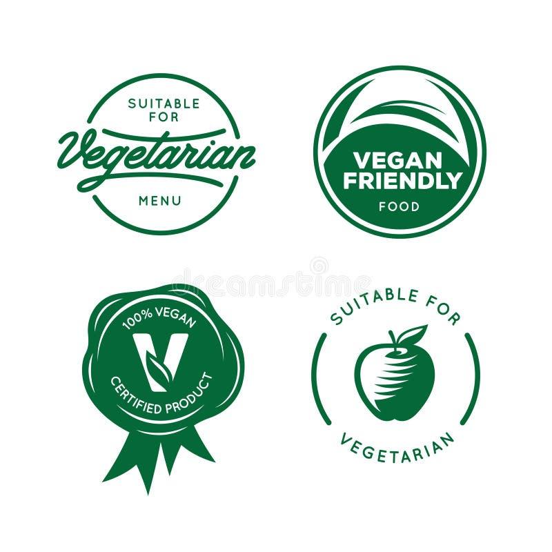 Suitable for vegetarian. Vegan related labels set. Vector vintage illustration. Suitable for vegetarian. Vegan related labels set. Stickers for food products stock illustration