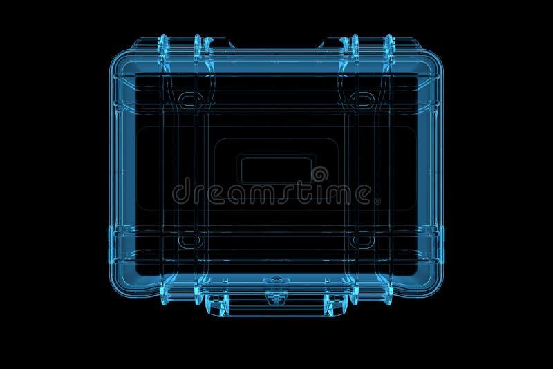 Suitcase 3D rendered xray blue. Transparent stock illustration
