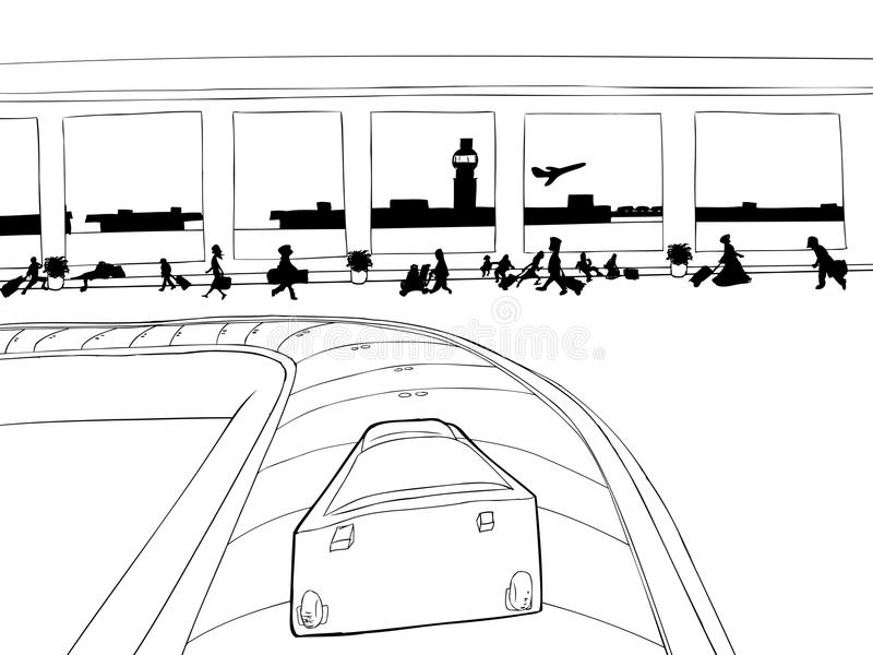Suitcase on Baggage Carousel Outline royalty free illustration