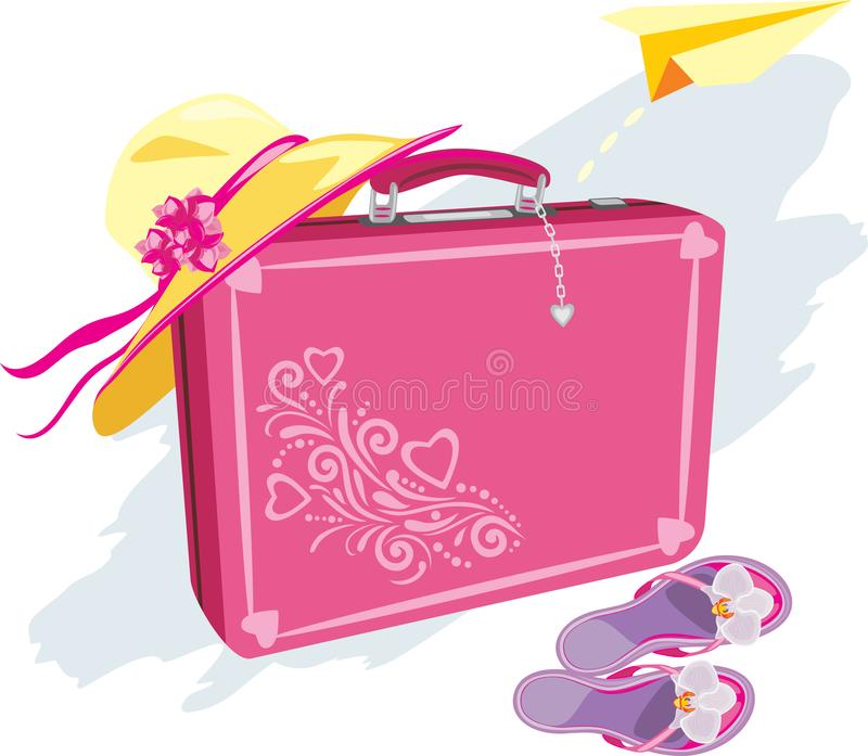 Suitcase, beach hat, flip flops and a paper airplane in dreams of vacation stock images