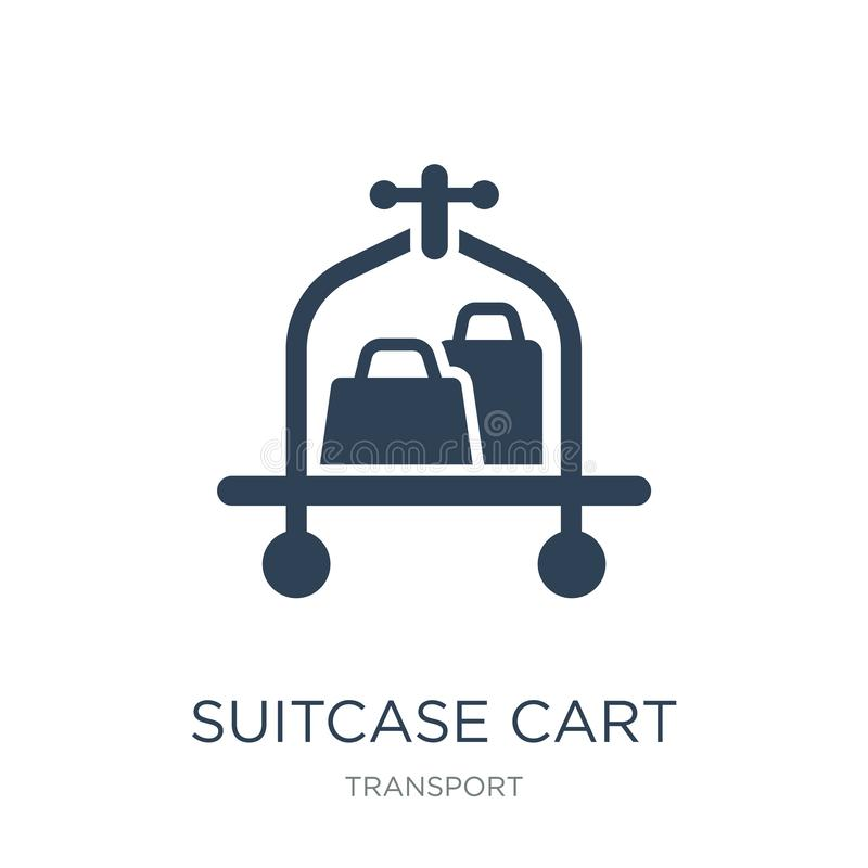 suitcase cart icon in trendy design style. suitcase cart icon isolated on white background. suitcase cart vector icon simple and stock illustration
