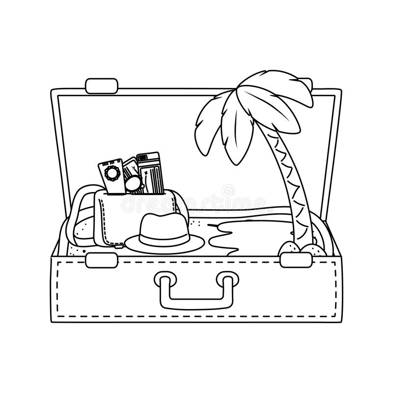 Suitcase cartoon summer and travel in black and white stock illustration