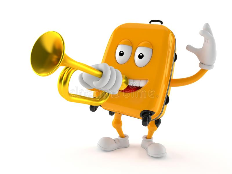 Suitcase character playing the trumpet. Isolated on white background stock illustration