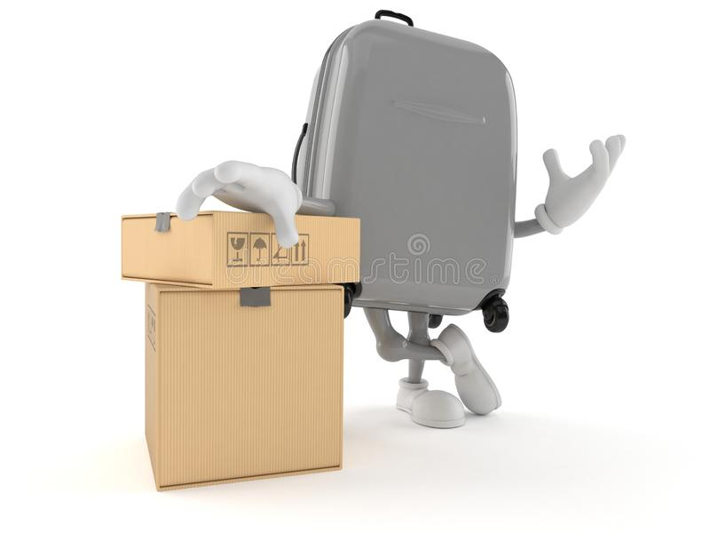 Suitcase character with stack of boxes vector illustration