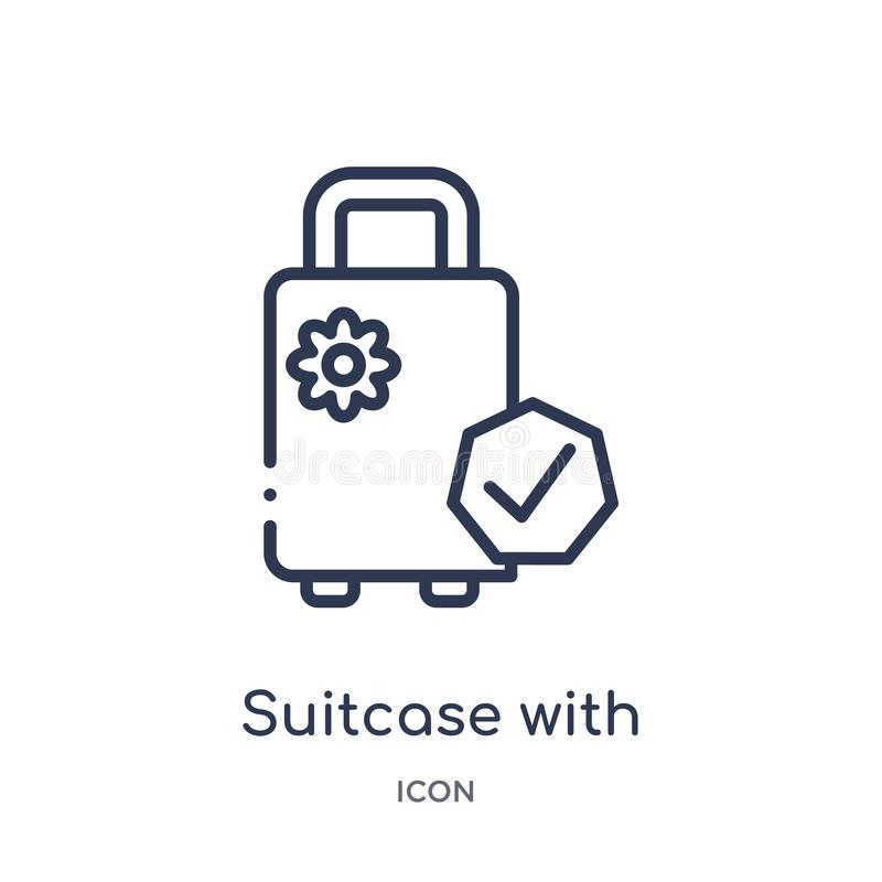 suitcase with check icon from ultimate glyphicons outline collection. Thin line suitcase with check icon isolated on white royalty free illustration