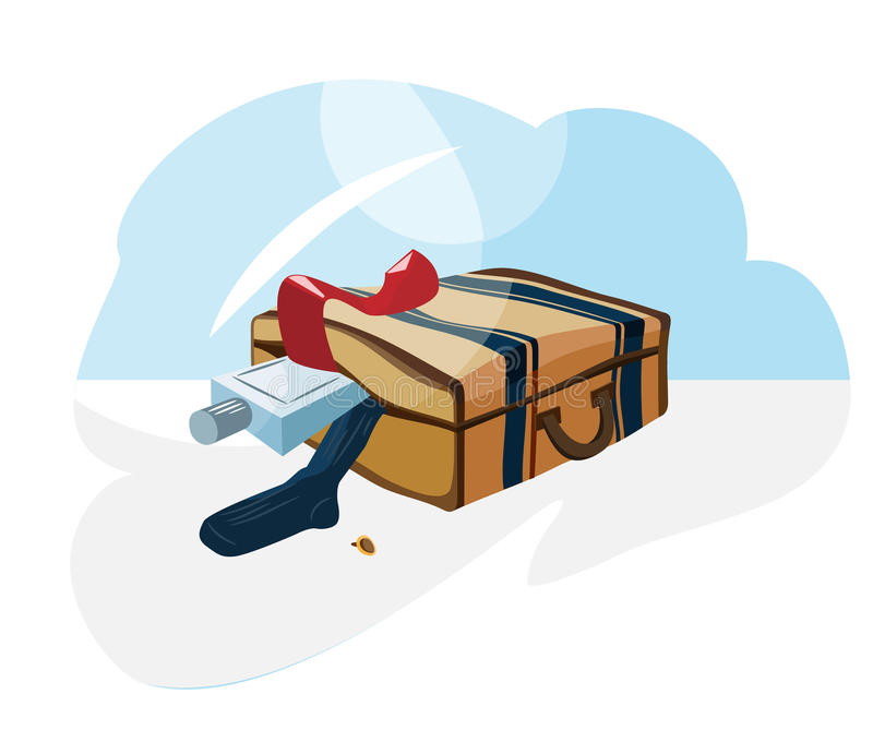 Suitcase_clothes royalty free illustration