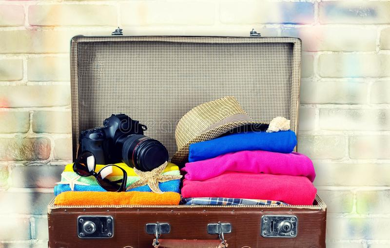 Suitcase with colorful summer. Icon transportation set glasses sunglasses royalty free stock photo