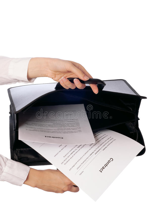 Suitcase With Contracts Stock Photos