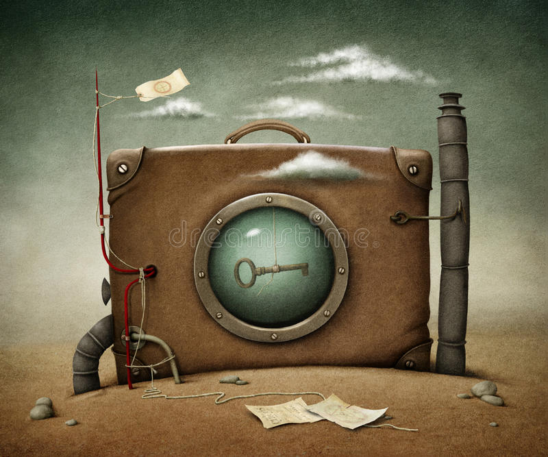 Download Suitcase in desert stock illustration. Image of design - 32434664