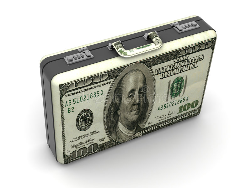 Suitcase with dollars. vector illustration
