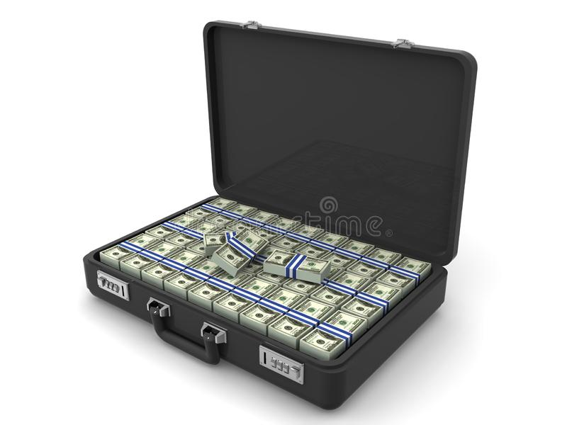 Suitcase with dollars royalty free stock photography
