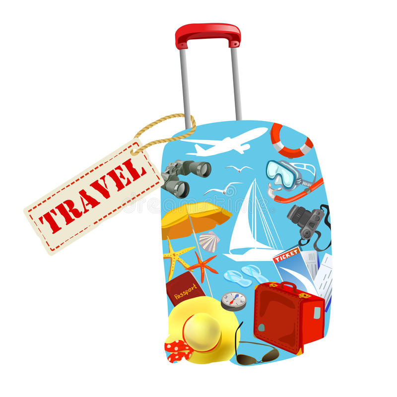 Suitcase with elements of travel. Vector illustration stock illustration