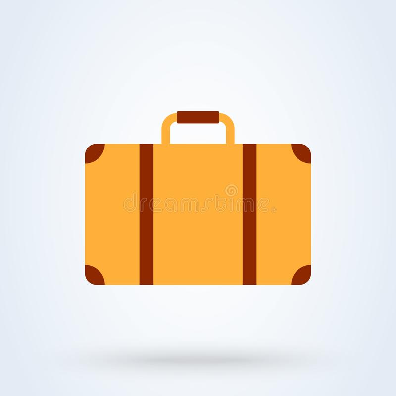 Suitcase flat style. Vector illustration icon isolated on white background stock illustration