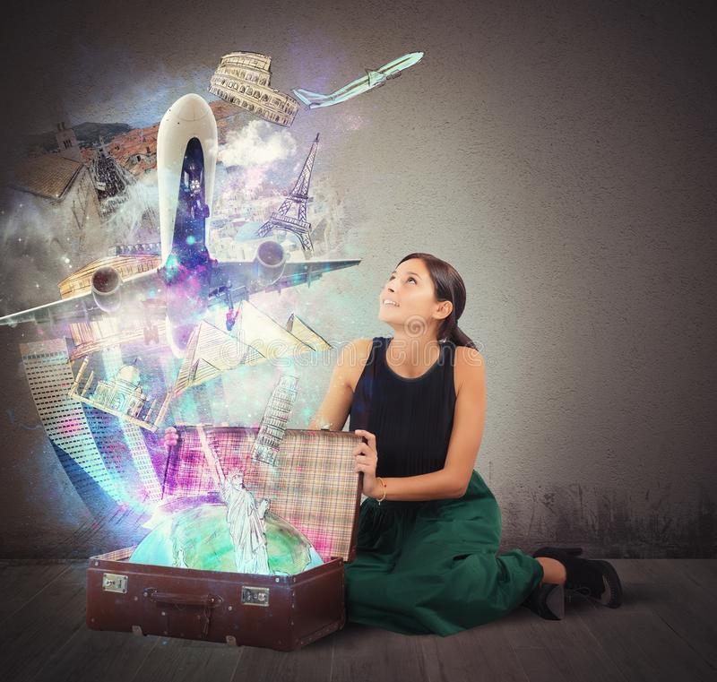 Suitcase full of memories royalty free stock photos