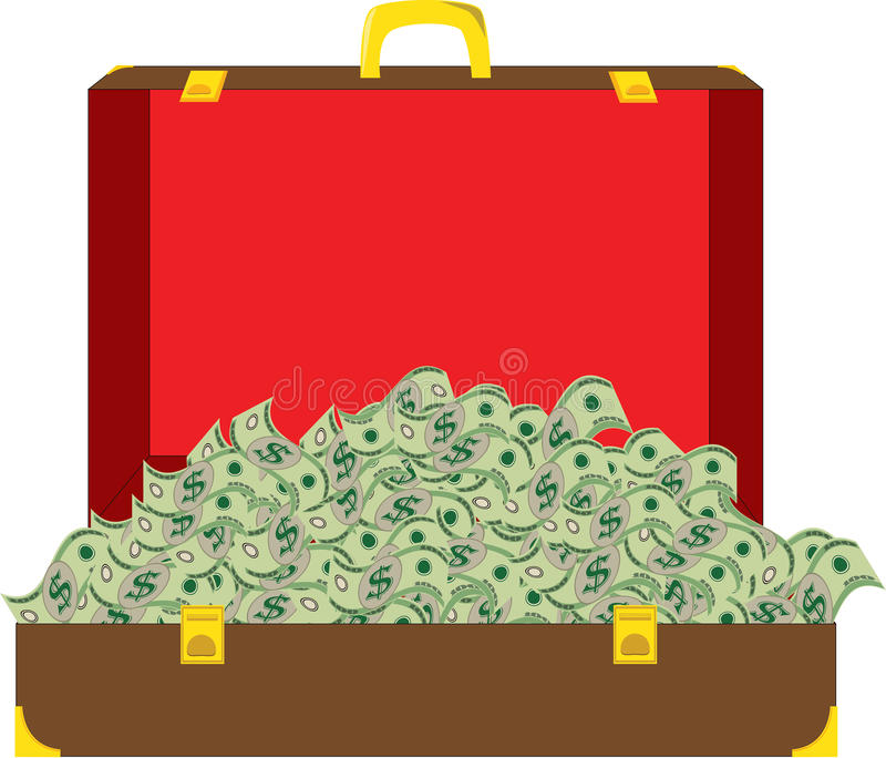 Suitcase full of money royalty free stock images