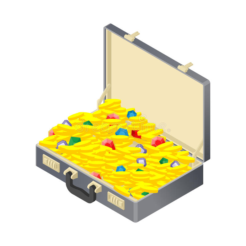 Suitcase with gold treasure. Case with coins and gems. Ruby and. Diamond. Sapphire and Emerald. Suitcase wealth vector illustration