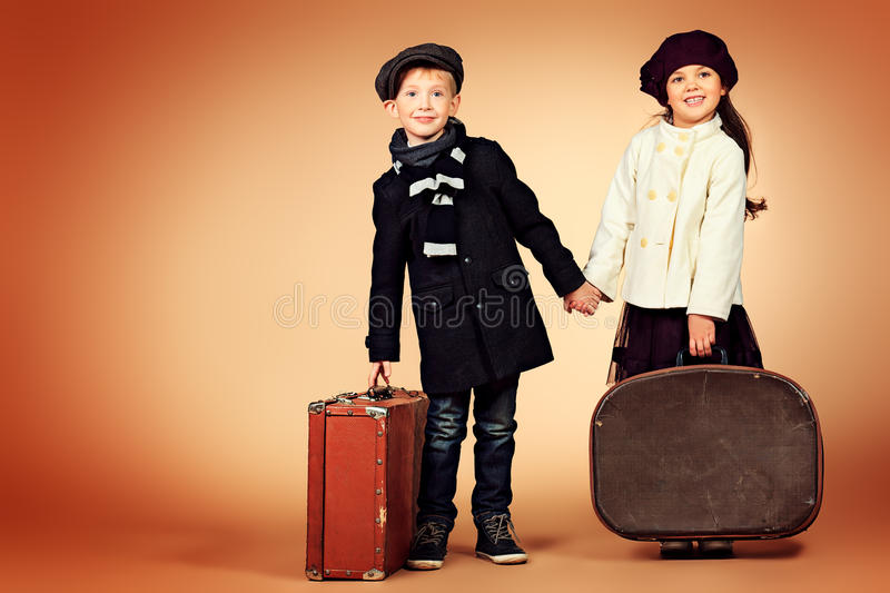 Suitcase in hand royalty free stock images