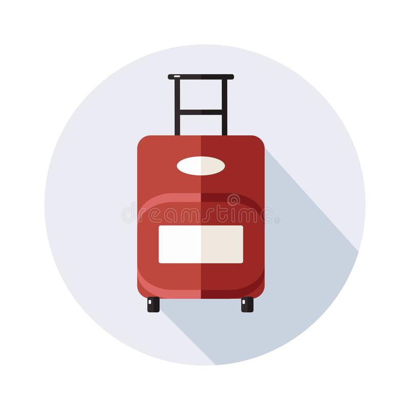 Suitcase  icon with long shadow on white royalty free illustration