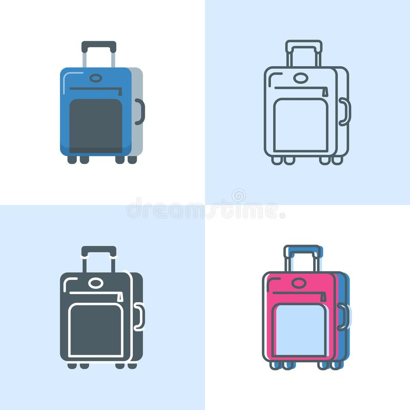 Suitcase icon set in flat and line styles vector illustration