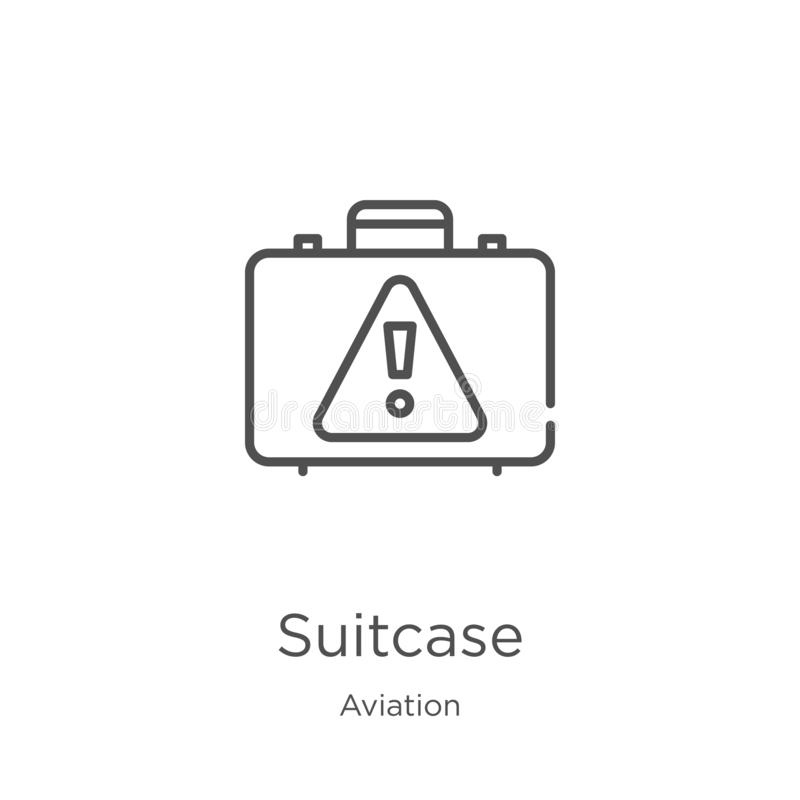 Suitcase icon vector from aviation collection. Thin line suitcase outline icon vector illustration. Outline, thin line suitcase. Suitcase icon. Element of vector illustration