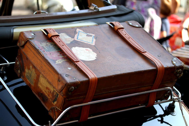 Suitcase In The Luggage Rack Of Vintage Car Stock Photo
