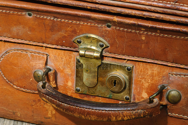 Suitcase made out of leather royalty free stock images
