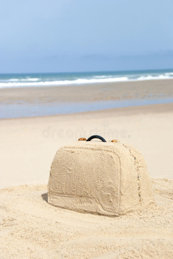 Download Suitcase Made Out Of Sand On Beach Stock Image - Image of journey, paradise: 26580745