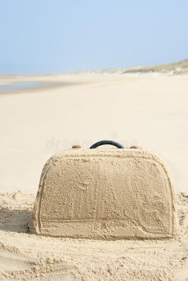 Download Suitcase Made Out Of Sand On Beach Stock Image - Image: 26585881