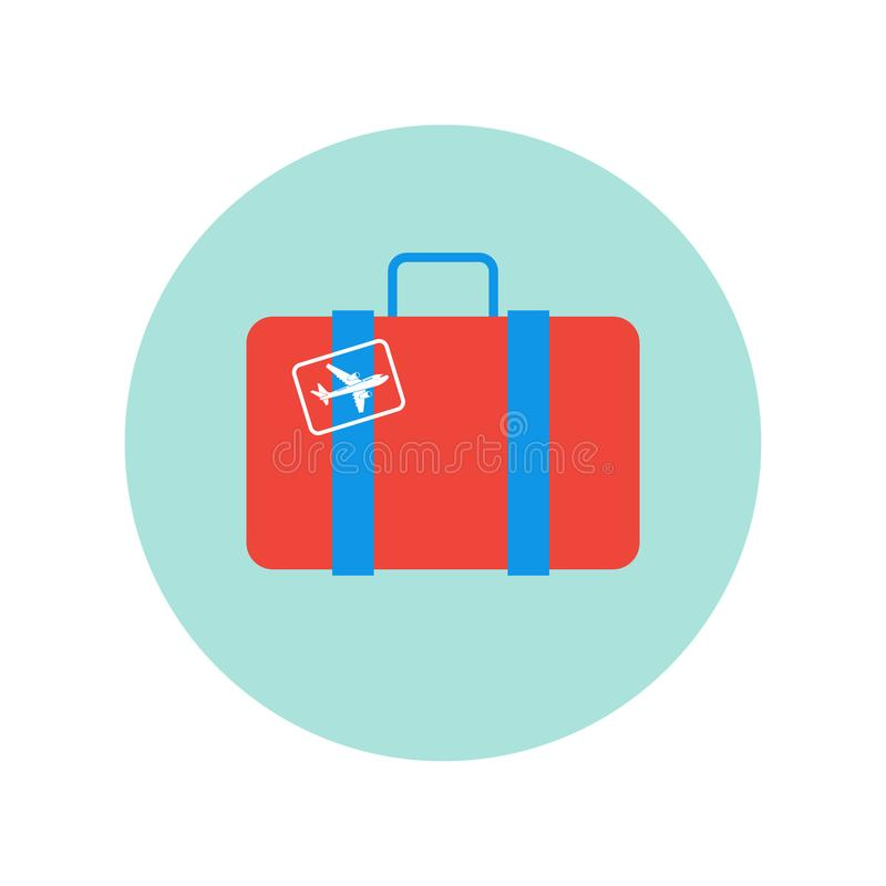 Suitcase Retro With Plane Sticker Icon Isolated Travel Baggage Case royalty free illustration