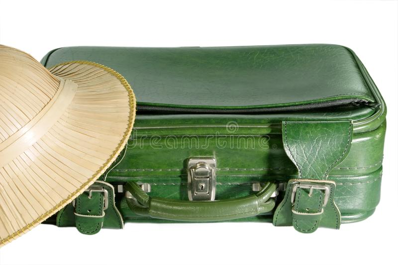 Suitcase and Safari Hat stock images