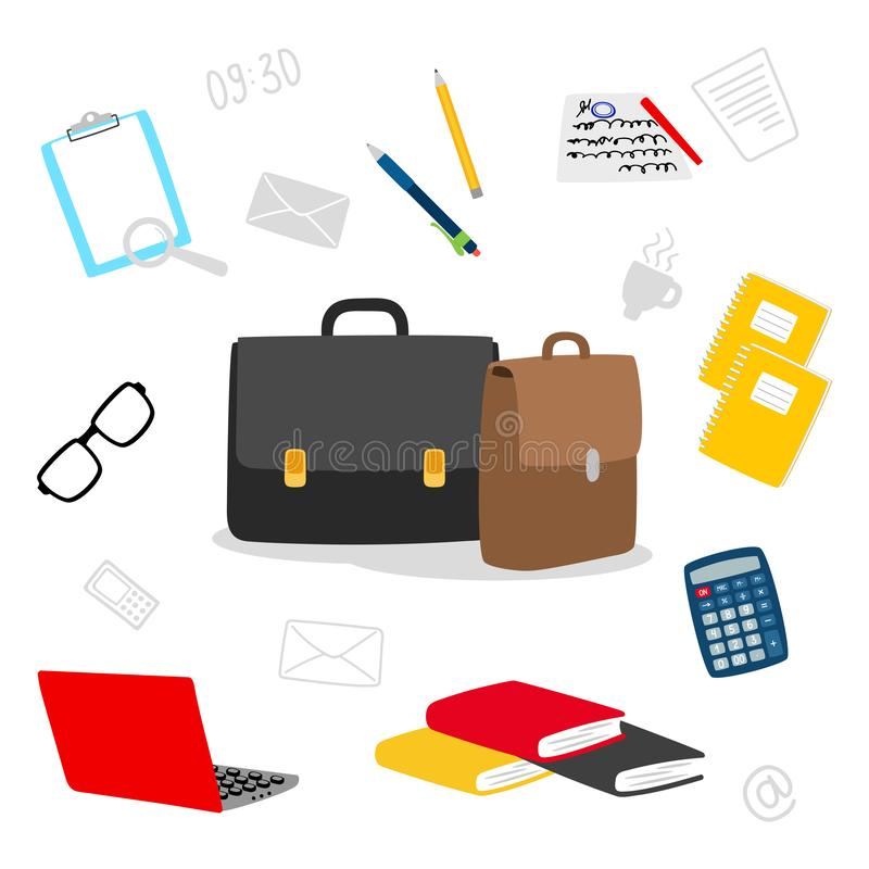 Suitcase, stationery, books, notepad vector icons. Contents of the teachers bag vector illustration