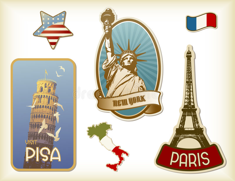 Suitcase-stickers. Collection of detailed vintage suitcase-stickers with different monuments