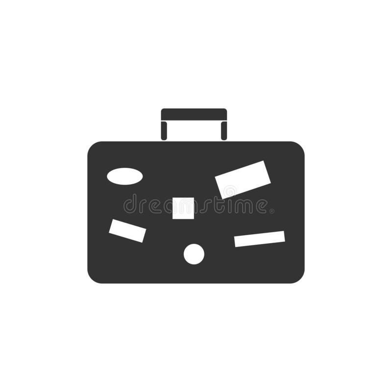 Suitcase, Travel Baggage icon flat royalty free illustration