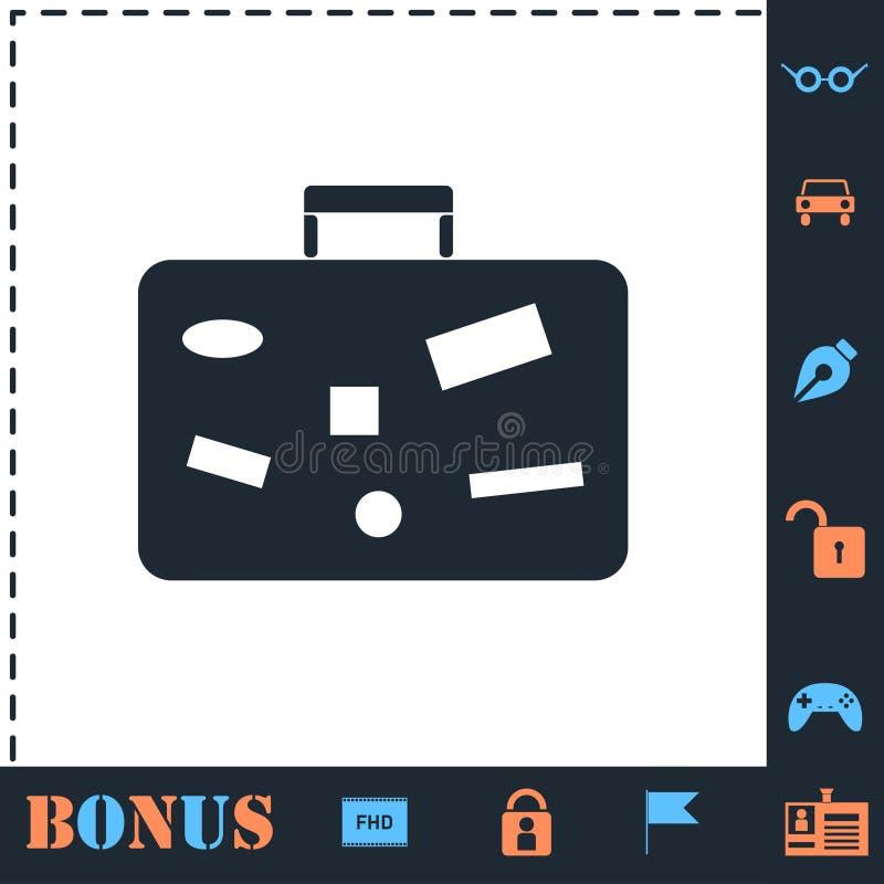 Suitcase, Travel Baggage icon flat stock illustration